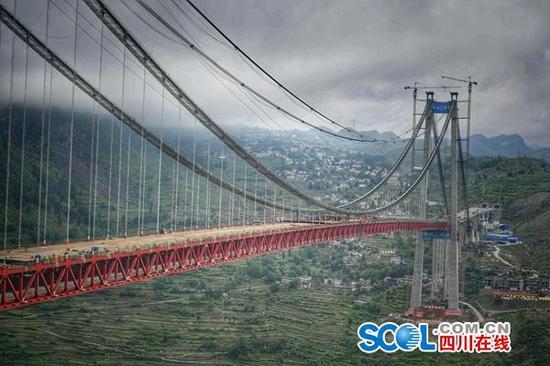 古习高速赤水河大桥合龙 系世界最高山区钢桁梁悬索桥