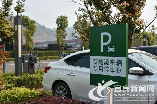 大型企业停车场里的充电桩。(宜宾新闻网何东 摄)