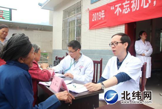 2019年9月30日,市医院党委书记杜潇(右)带队到天全县兴业乡罗李村开展义诊活动