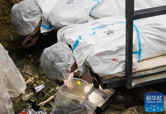 """↑9月7日,在四川德阳广汉市三星堆考古发掘现场,黎海超(下)在7号""""祭祀坑""""内工作。新华社记者 王曦 摄"""