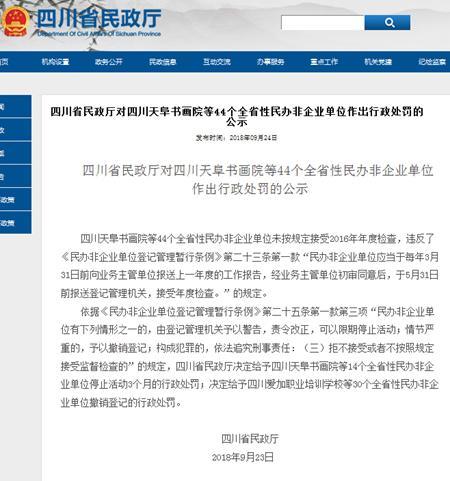 未按规定年检 四川44个民办非企业单位被行政处罚