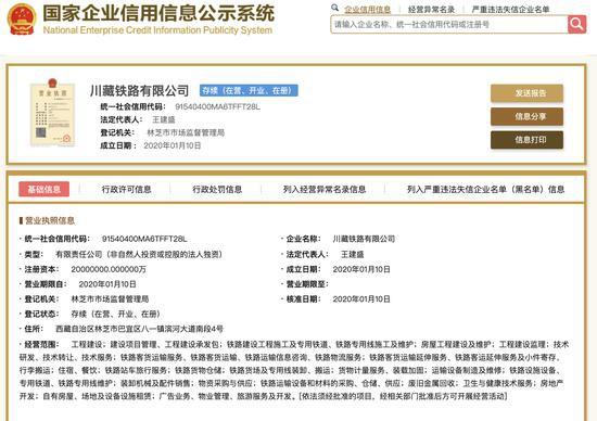 川藏铁路有限公司正式成立:注册资本2000亿