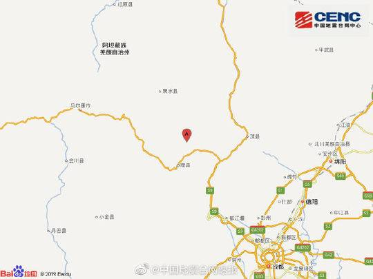 中国地震台网自动测定:四川阿坝州理县附近发生4.3级左右地震