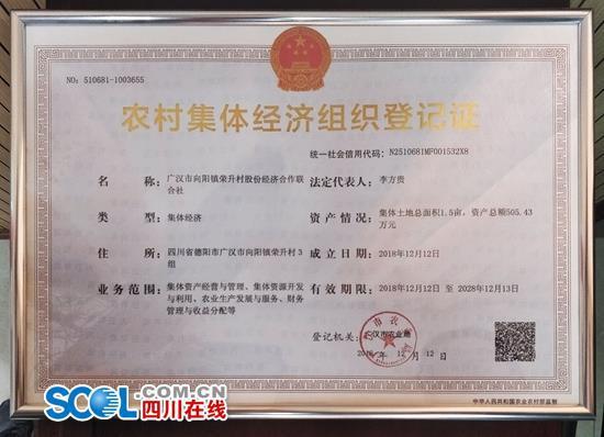 四川颁发首张农村集体经济组织身份证