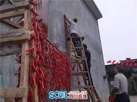 """接地气!成都这个村竟用辣椒""""绣""""出了五星红旗"""