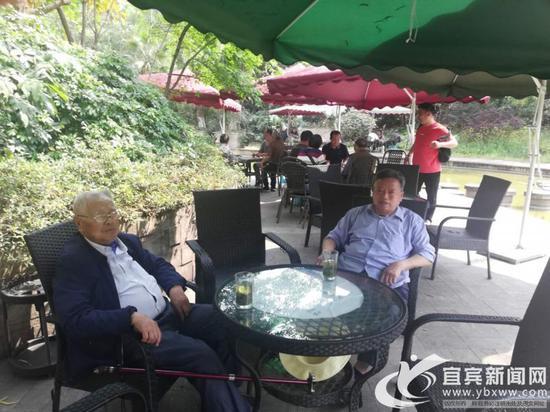 两位大爷在露天茶座喝茶聊天。(宜宾新闻网 杨万洪 摄)