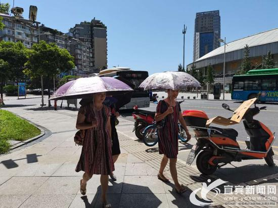 女士们打伞上街。(宜宾新闻网 杨万洪 摄)
