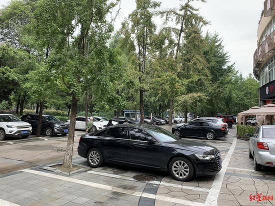 """▲""""无名路""""靠小区一侧人行道被车位挤占"""
