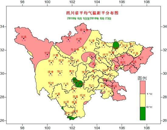监测数据显示,2018年6-8月,四川省平均气温比常年同期偏高0.7℃。