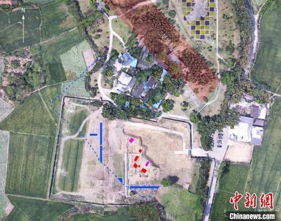 三星堆遗址祭祀区祭祀坑布局位置图。四川省文物考古研究院供图