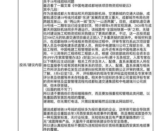 (市民吴先生向成都市长邮箱提交的投诉建议)