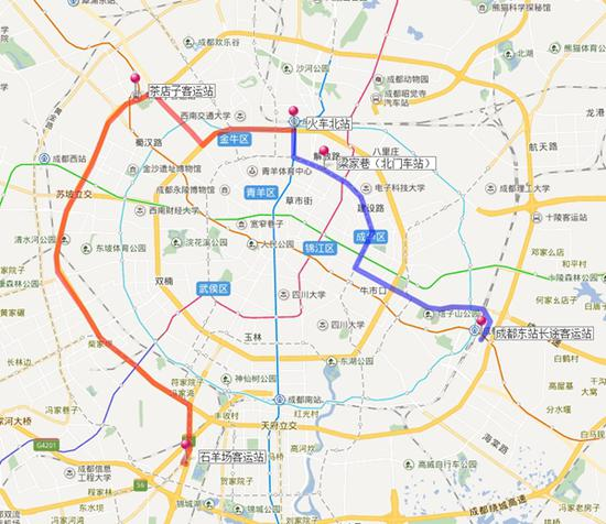 成都开行火车北站至5-降冰片烯-2-醇东站、石羊场客运站公交接驳专线