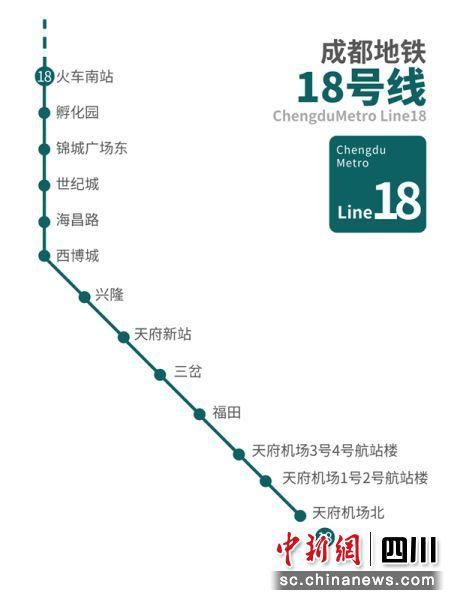 地铁18号线线路示意图。