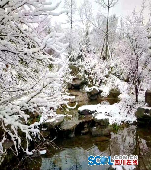 连日降温后,什邡山区出现降雪天气