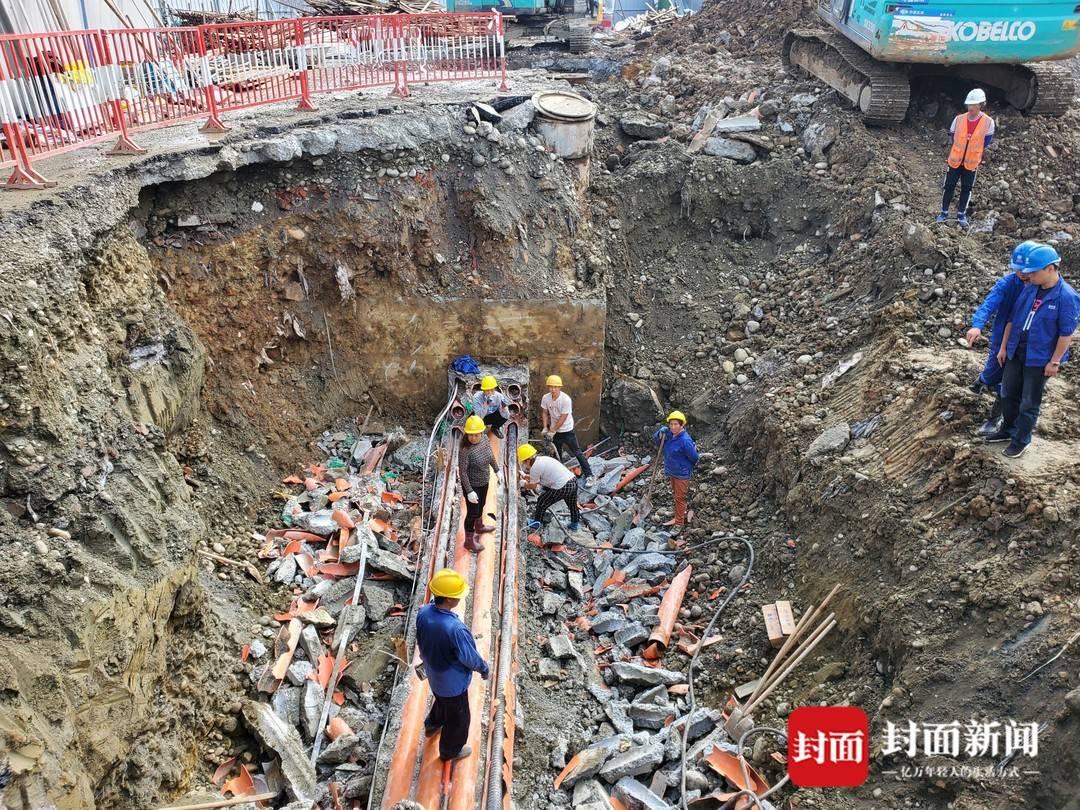 成都一工地暴力施工破坏地下电缆 危及上万户供电