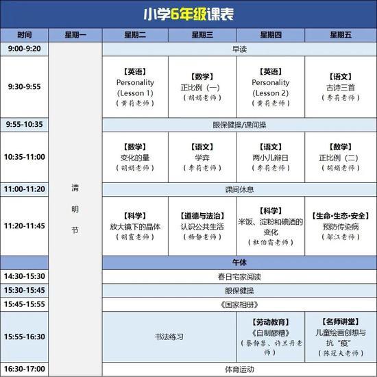 四川云教电视课堂线上教学第五周课表来了