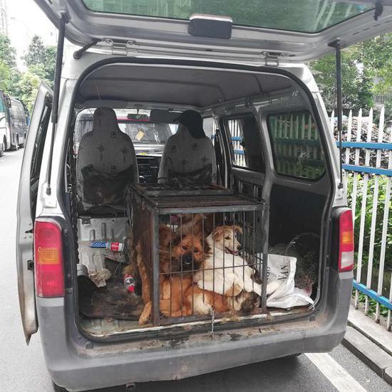 涉案车辆及被盗的土狗。荣昌警方供图