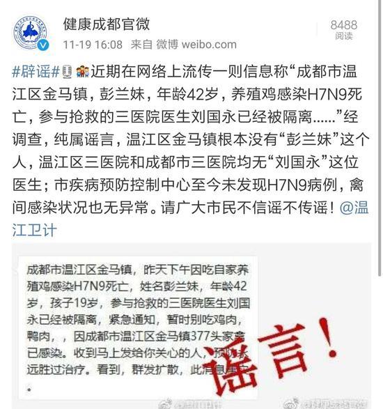 网传炫乐彩票温江有人感染禽流感死亡 官方:纯属谣言