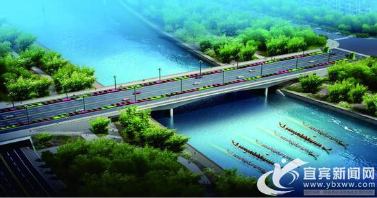 长宁县景城一体竹景观大道项目黄金滩大桥全桥贯通