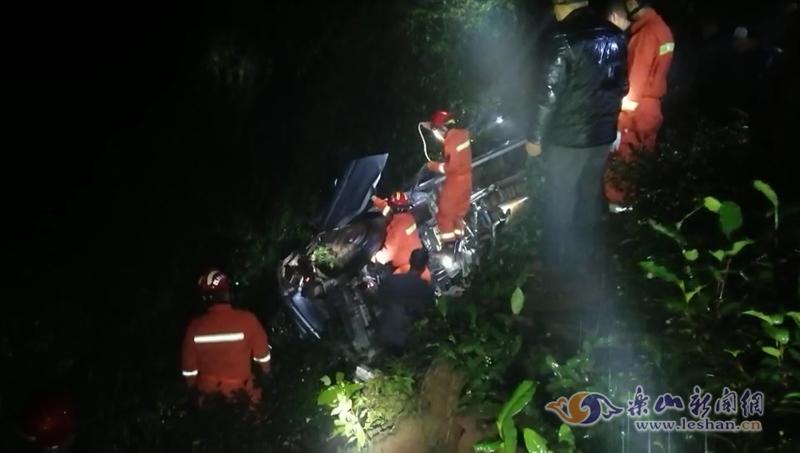 乐山一辆货车翻下百米山坡 消防人员连夜救援