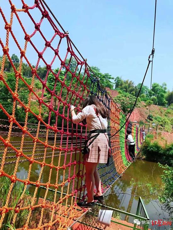 ↑水上侧攀网。图据纳溪梦里水乡微信公众号