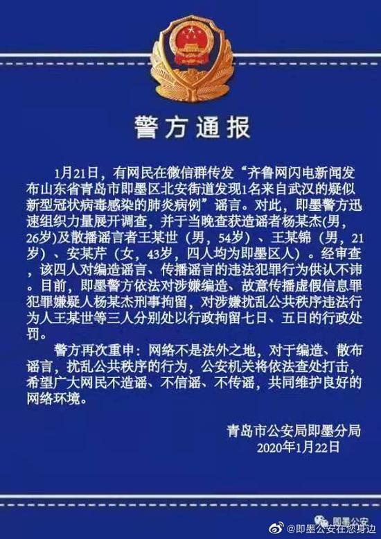 山东青岛发现1名来自武汉疑似病例?造谣传谣者被抓