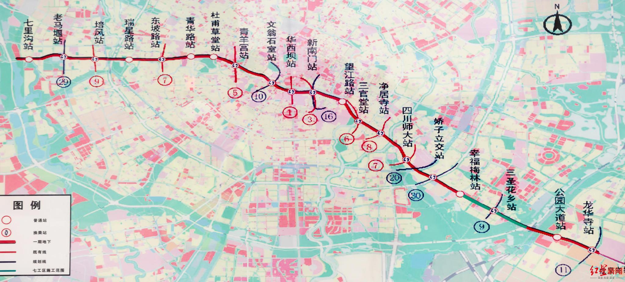 ▲成都地铁13号线站点