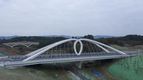 天府新区又添新景 全国首座水滴型梁拱分离系杆拱桥建成