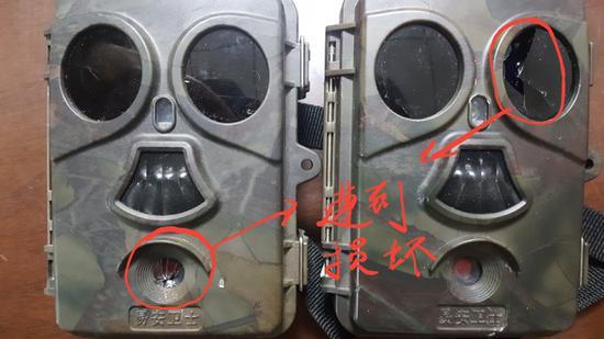 ↑红外相机遭到破坏