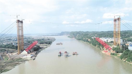 犍为岷江特大桥主桥施工现场