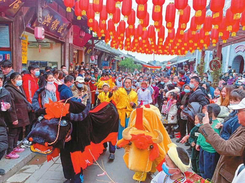 2月15日正月初四,成都市龙泉驿区洛带古镇上举行的牛儿灯传统文化展示,生动的表演给牛年新春增添了不少喜庆。