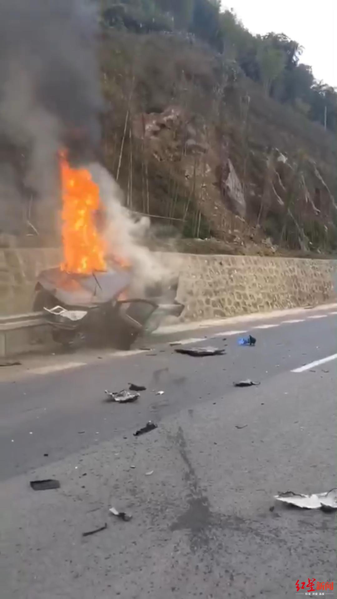 ↑事故现场,火势猛烈。