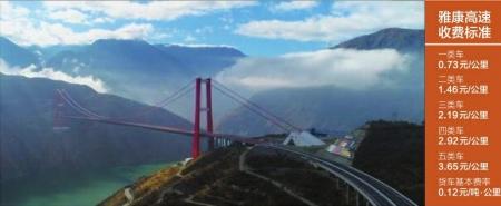 雅康高速11月20日起开始全线收费 小车每公里收0.73元