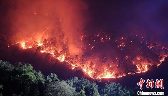 3月31日晚,泸山正面复燃,火势猛烈。 刘忠俊 摄