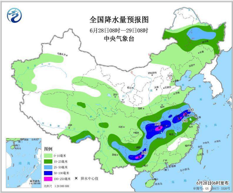 图2 全国降水量预报图(6月28日08时-29日08时)
