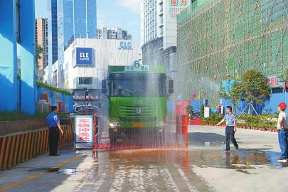 巴中工地车辆出入前自动冲洗。