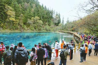 十月六日,游客在九寨沟游玩。何晓燕摄