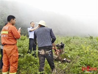 救援人员在山中搜寻求救者