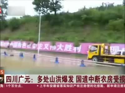 视频丨广元:多处山洪爆发 国道中断农房受损