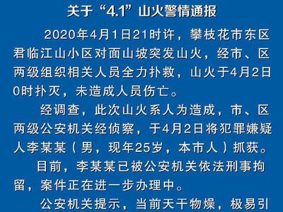 四川攀枝花警方通报:攀枝花山火系人为引发