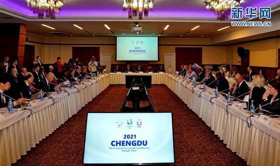 这是国际大学生体育联合会执委会会议现场(3月1日摄)。新华社记者杨世尧摄