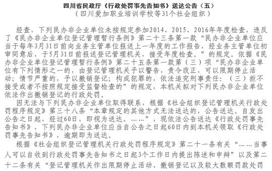 连续三年未年检 四川31个社会组织被撤销登记