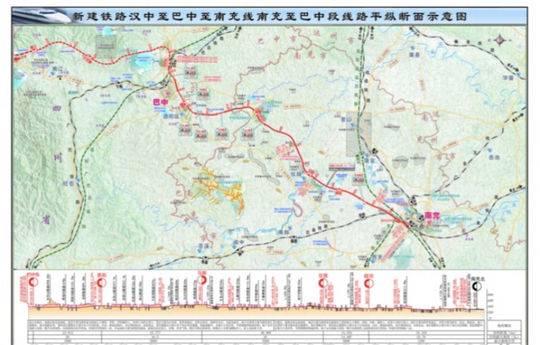 新建汉巴南铁路南充至巴中段初步