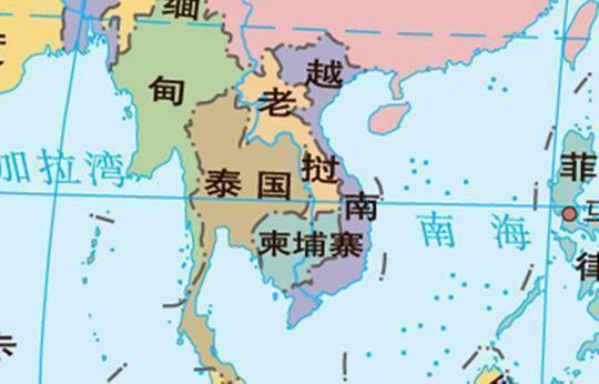 泰国地图。(截取自国家测绘地理信息局的世界地图)