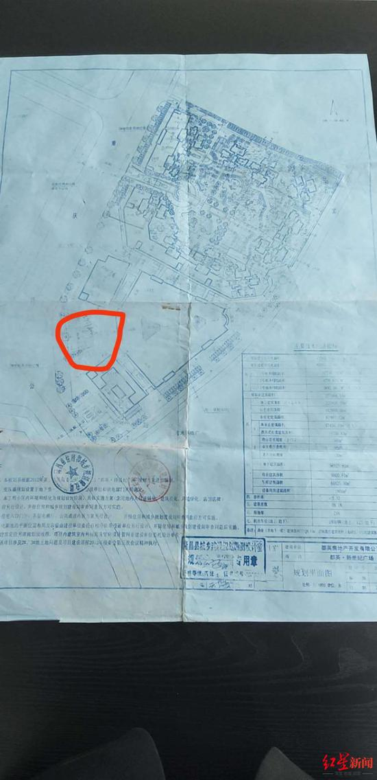 杨某称,活动场地(红圈内)在规划红线内,属开发商