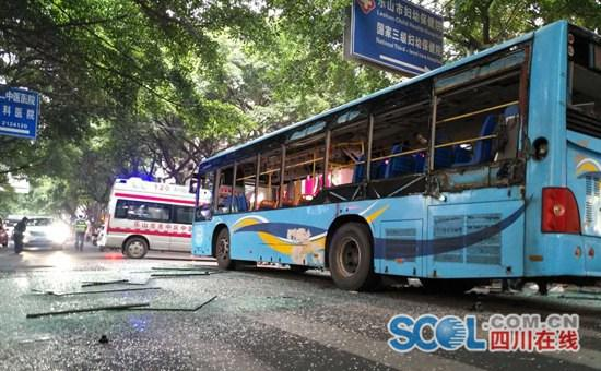 乐山公交车爆炸致15人受伤 其中1人重伤