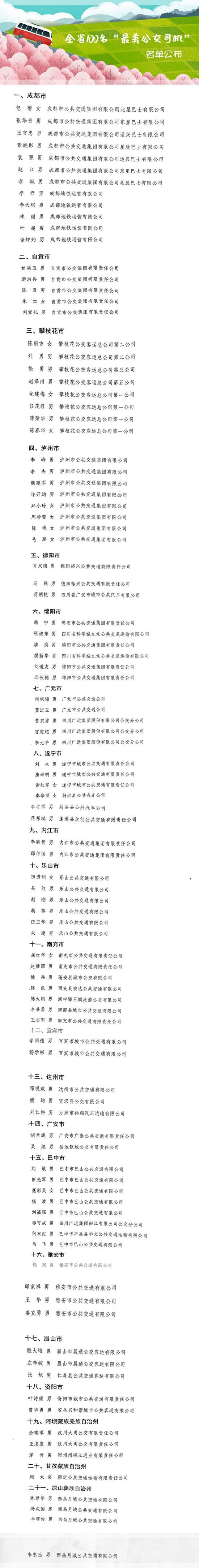 """四川100名""""最美公交司机""""名单公布 有你认识的人吗"""