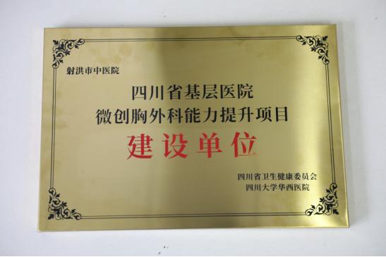 """射洪市中医院被四川省卫健委列为""""微创胸外科能力提升项目建设单位"""""""