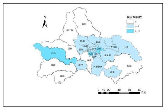 成都市新冠肺炎现有确诊病例疫情地图 (截至2月25日24时)
