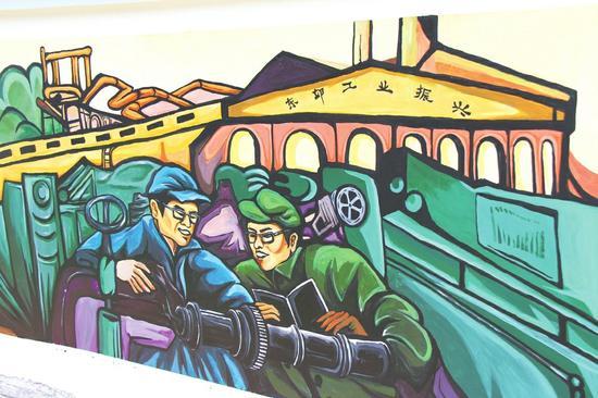 设计的手绘图案,生动讲述天府成都之文旅成华从古蜀时期,到工业文明